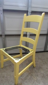 took them apart, washed and sanded each chair and then spray painted 4 light coats of this happy yellow color.